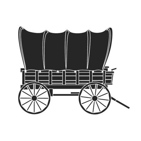 Wild-West-Wagen-Vektor-Symbol. Schwarzes Vektor-Symbol auf weißem Hintergrund Wild-West-Wagen isoliert.