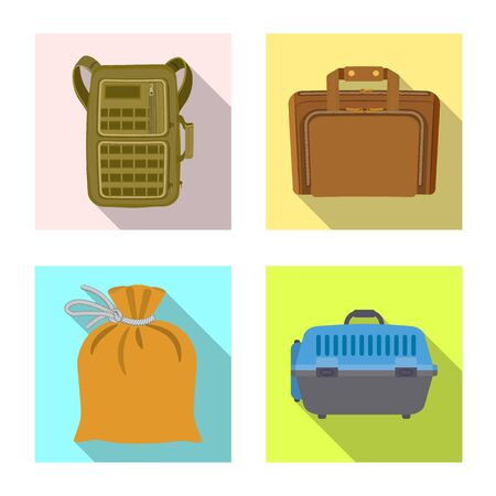 Vector illustration of suitcase and baggage . Collection of suitcase and journey stock symbol for web.
