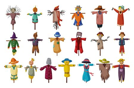 Garden scarecrow vector cartoon set icon.Isolated set cartoon icons halloween of scare.Vector collection garden scarecrow on white background .