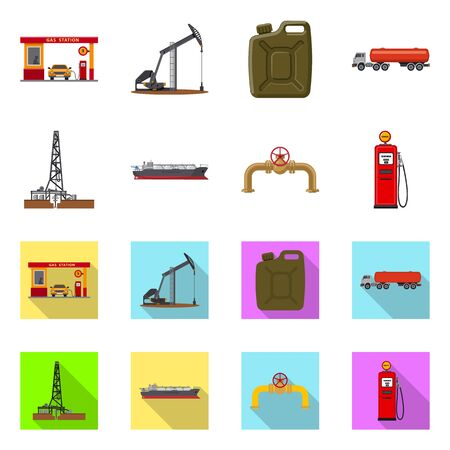 Vector illustration of oil and gas symbol. Collection of oil and petrol stock symbol for web. Ilustrace
