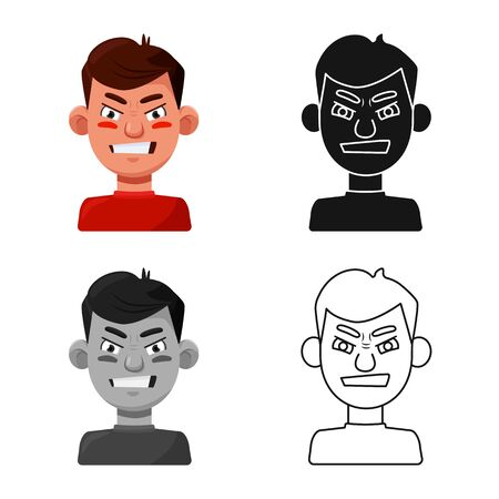 Vector design of guy and grimace icon. Set of guy and hatred stock vector illustration.