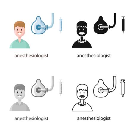 Vector design of anesthesiologist and doctor . Collection of anesthesiologist and anesthesia stock vector illustration.