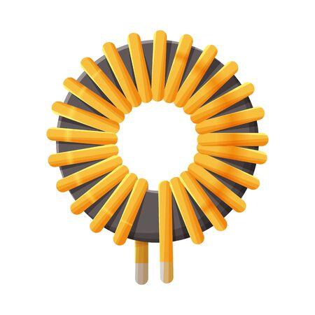 Vektorillustration des Spulen- und Stahlzeichens. Webelement des Spulen- und Kurvenbestandssymbols für das Web. Vektorgrafik
