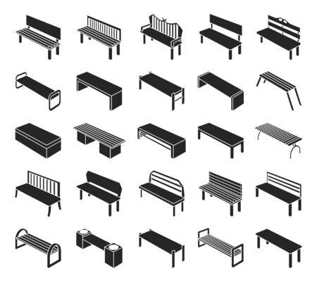 Parkbank Vektor schwarz Set icon.Vector Illustration Gartensitz.Isolated schwarz Set Icons Parkbank auf weißem Hintergrund.
