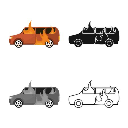 Vector illustration of car and burn icon. Collection of car and ruined vector icon for stock.