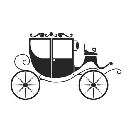 Icône de vecteur de chariot vintage. Noir, chariot vintage d'icône de vecteur simple isolé sur fond blanc.