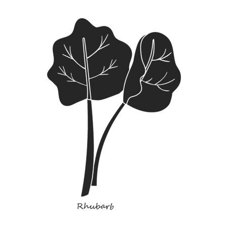 Rhabarber-Vektor-Symbol. Schwarz, einfaches Vektor-Symbol auf weißem Hintergrund Rhabarber.