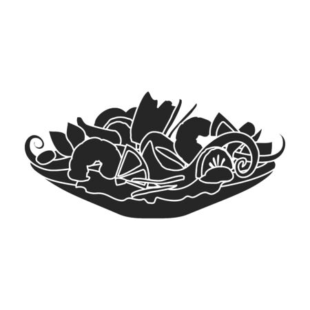 Dish of seafood vector icon.Black,simple vector icon isolated on white background dish of seafood .
