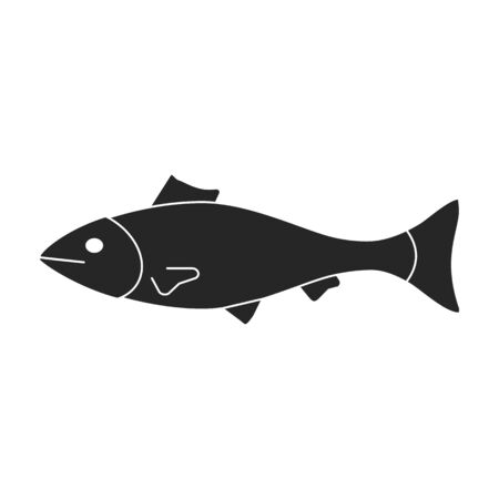 Sea fish vector icon.Black,simple vector icon isolated on white background sea fish.