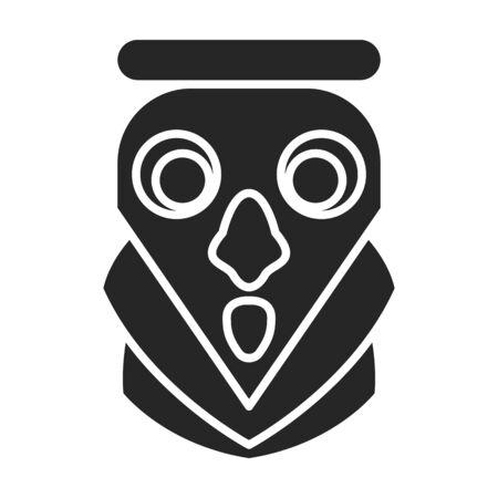 Masque d'icône de vecteur de totem. Icône de vecteur noir isolé sur fond blanc masque de totem.