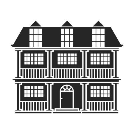 Gebäude der Wohnungsvektorikone. Schwarzes, einfaches Vektorikone lokalisiert auf weißem Hintergrund Gebäude der Wohnung.