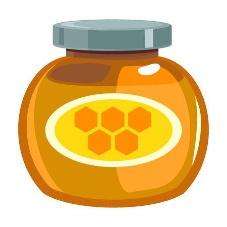 Jar of honey vector icon.Cartoon vector icon isolated on white background jar of honey .