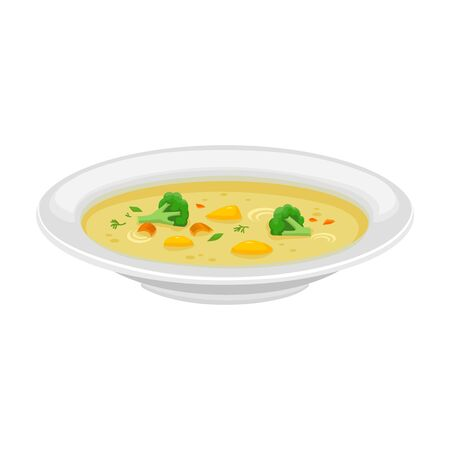 Plate of soup vector icon.Cartoon vector icon isolated on white background plate of soup.