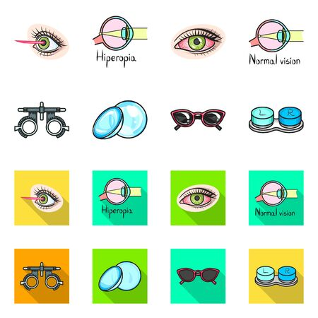Vector design of optometry and medicine sign. Collection of optometry and diagnostic stock vector illustration.