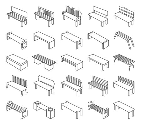 Park bench vector outline set icon.Vector illustration garden seat.Isolated outline set icon park bench on white background .