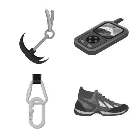 Isolated object of mountaineering and peak sign. Set of mountaineering and camp vector icon for stock.