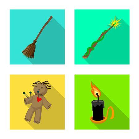 Vektorillustration der Hexerei und der mystischen Ikone. Satz von Hexerei und magischem Aktiensymbol für das Web.