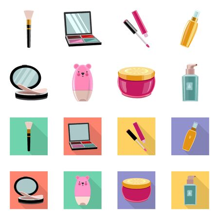 Vector illustration of makeup and product logo. Set of makeup and cosmetology stock vector illustration.