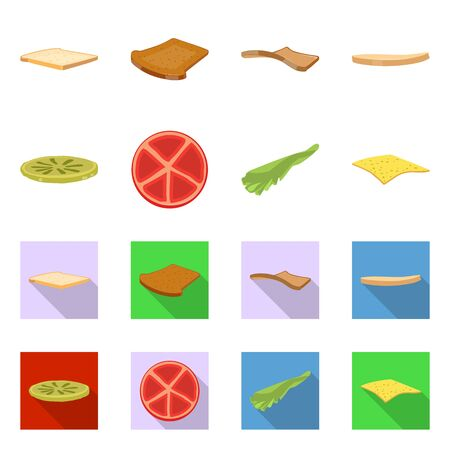 Vector design of breakfast and delicious icon. Set of breakfast and tasty stock vector illustration. Иллюстрация