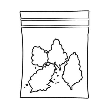 Vector illustration of marijuana and bag symbol. Graphic of marijuana and sack vector icon for stock.