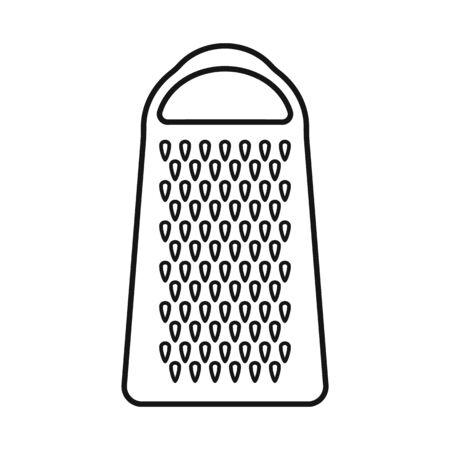 Illustrazione vettoriale di simbolo di grattugia e posate. Elemento Web di grattugia e illustrazione vettoriali stock strumento. Vettoriali