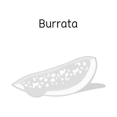 Isolated object of cheese and burrata symbol. Web element of cheese and piece vector icon for stock.