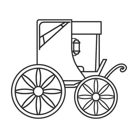 Vintage carriage vector icon.Outline, line vector icon vintage carriage isolated on white background .