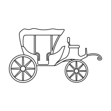 Icône de vecteur de chariot vintage. Contour, vecteur de ligne icône chariot vintage isolé sur fond blanc.