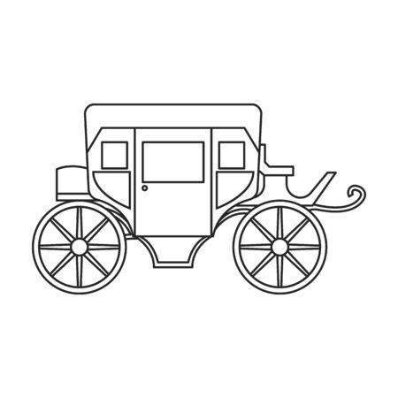 Retro brougham vector icon.Outline, line vector icon retro brougham isolated on white background. Vecteurs