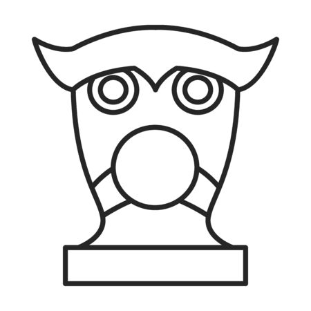 Mask of totem vector icon.Line vector icon isolated on white background mask of totem .