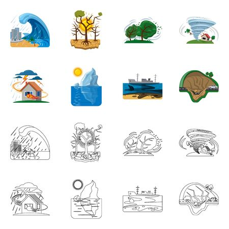 Vector design of natural and disaster sign. Collection of natural and risk stock symbol for web. Ilustração