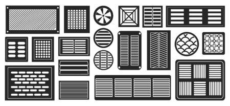 Presa d'aria vettore nero,semplice set icon.Vector illustrazione griglia di ventilazione su sfondo bianco.Isolato nero,semplice set icon presa d'aria.