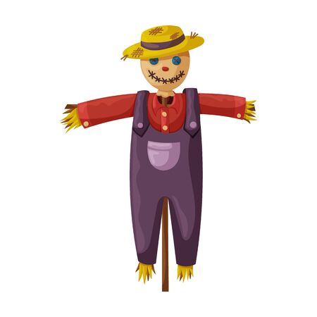 Scarecrow vector icon.Cartoon vector icon isolated on white background scarecrow.