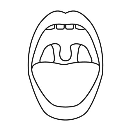 Mouth vector icon.Outline,line vector icon isolated on white background mouth. Vetores