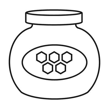 Jar of honey vector icon.Outline,line vector icon isolated on white background jar of honey . Ilustração