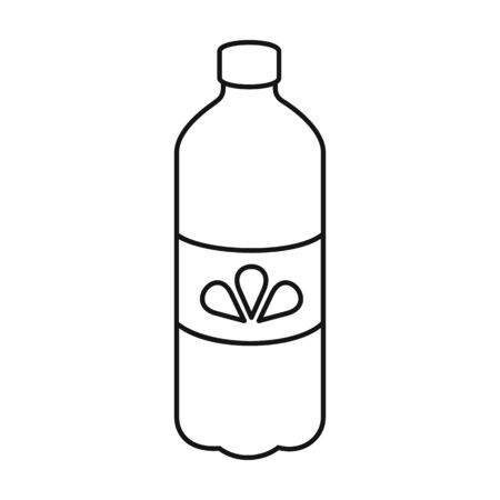 Bottle water vector icon.Outline,line vector icon isolated on white background bottle water. 矢量图像