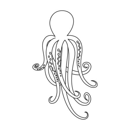 Octopus vector icon.Outline,line vector icon isolated on white background octopus.