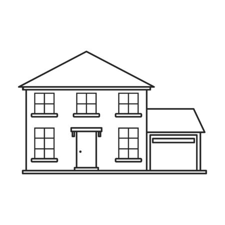 Villa of house vector icon.Outline,line vector icon isolated on white background villa of house .