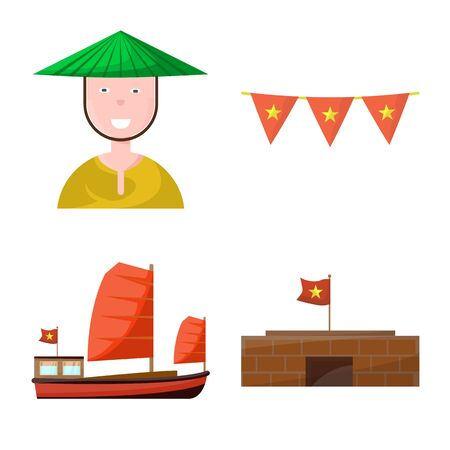 Vector illustration of vietnam and traditional sign. Set of vietnam and asia stock vector illustration.