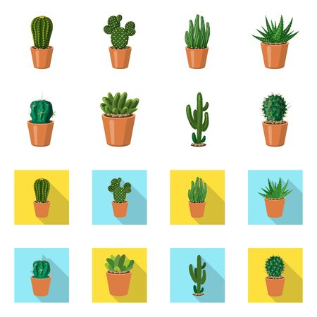 Vector design of cactus and pot sign. Set of cactus and cacti vector icon for stock.