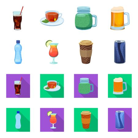 Isolated object of drink and bar sign. Collection of drink and party stock symbol for web.
