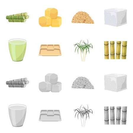 Vector design of industry and sugarcane sign. Collection of industry and tropical vector icon for stock. 向量圖像