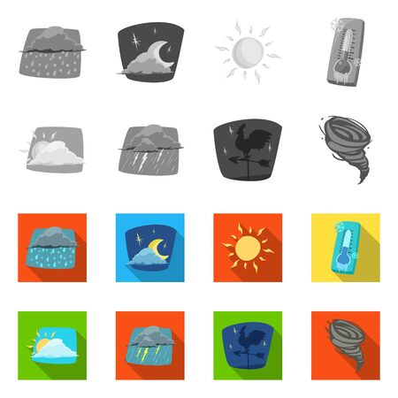 Isolated object of weather and climate sign. Collection of weather and cloud stock symbol for web.