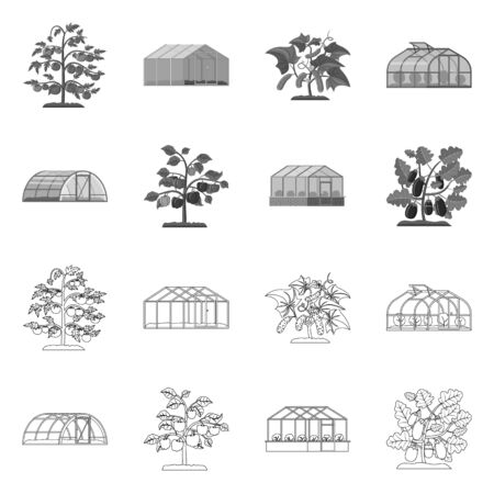 Vector illustration of greenhouse and plant icon. Set of greenhouse and garden stock vector illustration. 向量圖像