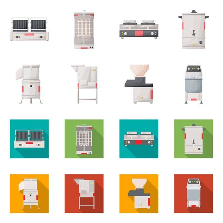 Isolated object of domestic and appliances logo. Set of domestic and furniture vector icon for stock. 向量圖像