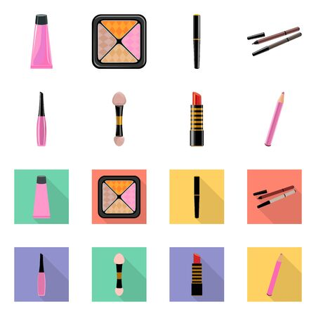 Vector illustration of makeup and product logo. Set of makeup and cosmetology stock symbol for web.