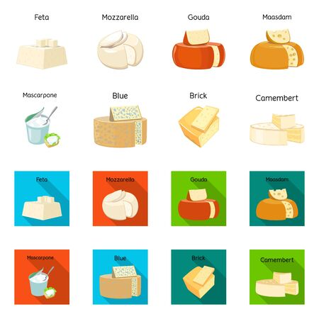 Vector design of food and dairy symbol. Collection of food and product stock symbol for web.