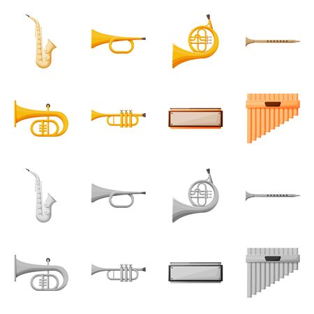 Vector illustration of concert and classical logo. Set of concert and equipment vector icon for stock.