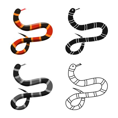 Vector design of serpent and black logo. Web element of serpent and milk stock vector illustration.