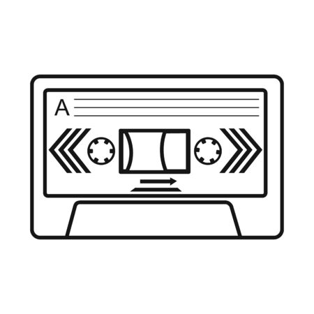 Isolated object of cassette and tape sign. Graphic of cassette and reel stock vector illustration.